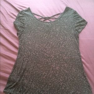 Leopard print short sleeve w/ criss cross back
